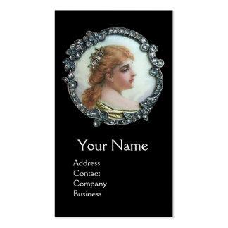 ROMANTIC WOMAN,DIAMOND FLOWER VINTAGE ENAMEL White Business Card