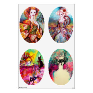 ROMANTIC WOMAN FINE ART COLLECTION ,ovals Wall Decal