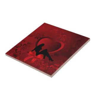 Romantic woman on red damask ceramic tile