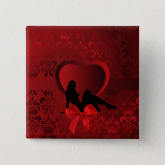Romantic woman on red damask pinback button