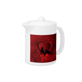 Romantic woman on red damask teapot