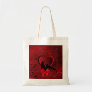 Romantic woman on red damask tote bag