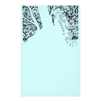 ROMANTIC WOMAN,ROSES AND NATURE Black Teal Blue Stationery