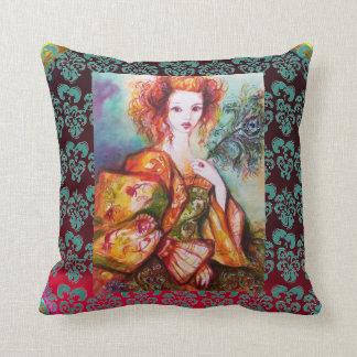 ROMANTIC WOMAN,SPARKLING PEACOCK FEATHER Burgundy Throw Pillow