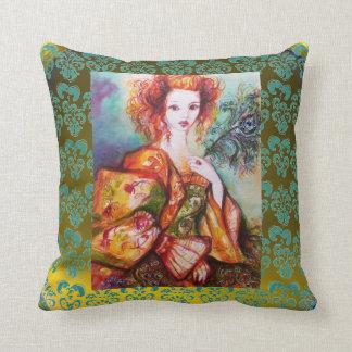 ROMANTIC WOMAN , SPARKLING PEACOCK FEATHER Yellow Throw Pillow