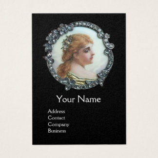 ROMANTIC WOMAN WITH DIAMOND FLOWERS VINTAGE ENAMEL BUSINESS CARD