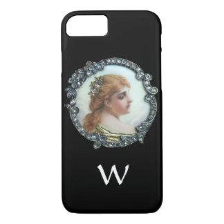ROMANTIC WOMAN WITH DIAMOND FLOWERS VINTAGE ENAMEL iPhone 8/7 CASE