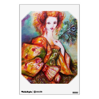 ROMANTIC WOMAN WITH PEACOCK FEATHER Emerald Wall Sticker