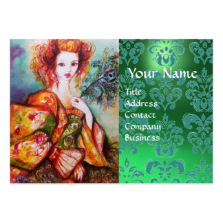 ROMANTIC WOMAN WITH PEACOCK FEATHER Green Damask Large Business Card