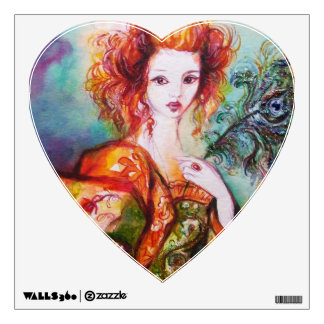 ROMANTIC WOMAN WITH PEACOCK FEATHER Heart Wall Sticker
