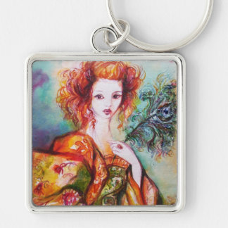 ROMANTIC WOMAN WITH PEACOCK FEATHER Silver-Colored SQUARE KEYCHAIN