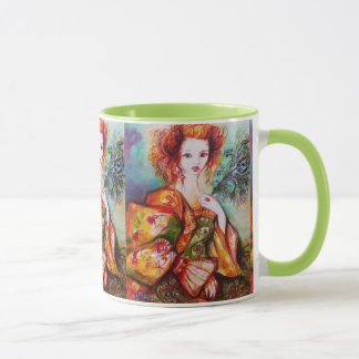 ROMANTIC WOMAN WITH PEACOCK FEATHER MUG