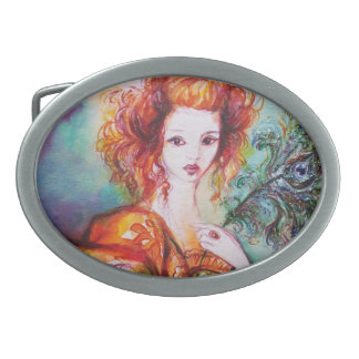 ROMANTIC WOMAN WITH PEACOCK FEATHER OVAL BELT BUCKLE