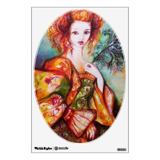 ROMANTIC WOMAN WITH PEACOCK FEATHER Oval Wall Sticker