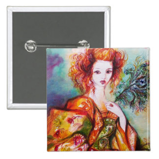 ROMANTIC WOMAN WITH PEACOCK FEATHER PINBACK BUTTON