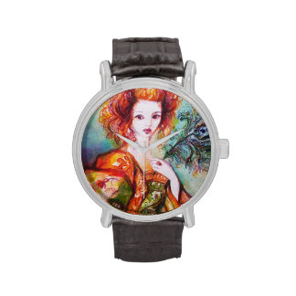 ROMANTIC WOMAN WITH PEACOCK FEATHER WRIST WATCH