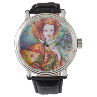 ROMANTIC WOMAN WITH PEACOCK FEATHER WATCH