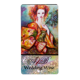 ROMANTIC WOMAN WITH PEACOCK FEATHER Wedding Wine Label