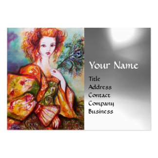 ROMANTIC WOMAN WITH PEACOCK FEATHER White Grey Gem Large Business Card