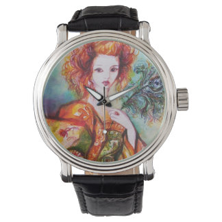 ROMANTIC WOMAN WITH PEACOCK FEATHER WRIST WATCHES