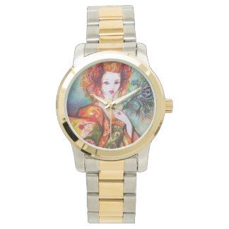 ROMANTIC WOMAN WITH PEACOCK FEATHER WRISTWATCH