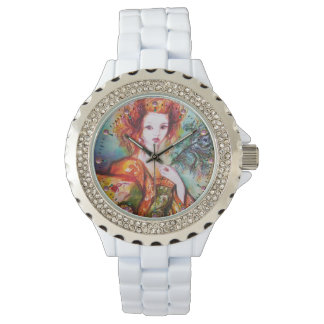 ROMANTIC WOMAN WITH PEACOCK FEATHER WRISTWATCHES