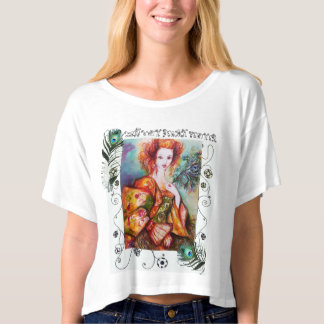 ROMANTIC WOMAN WITH PEACOCK FEATHERS T-SHIRT