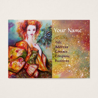 ROMANTIC WOMAN WITH SPARKLING PEACOCK FEATHER BUSINESS CARD