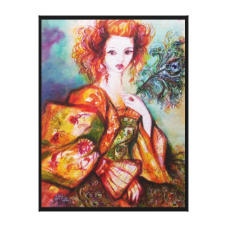 ROMANTIC WOMAN WITH SPARKLING PEACOCK FEATHER CANVAS PRINT