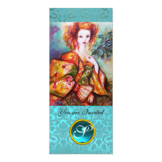 ROMANTIC WOMAN WITH SPARKLING PEACOCK FEATHER CARD