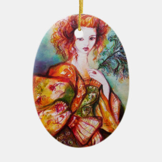 ROMANTIC WOMAN WITH SPARKLING PEACOCK FEATHER CERAMIC ORNAMENT