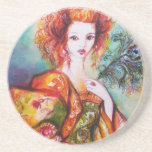 ROMANTIC WOMAN WITH SPARKLING PEACOCK FEATHER DRINK COASTERS