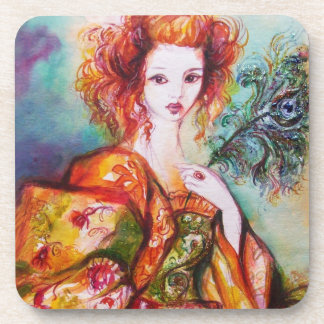 ROMANTIC WOMAN WITH SPARKLING PEACOCK FEATHER DRINK COASTER