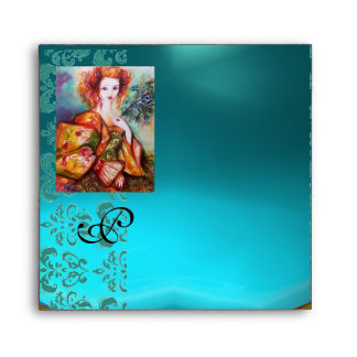 ROMANTIC WOMAN WITH SPARKLING PEACOCK FEATHER ENVELOPES