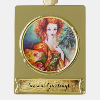 ROMANTIC WOMAN WITH SPARKLING PEACOCK FEATHER GOLD PLATED BANNER ORNAMENT