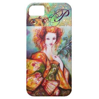 ROMANTIC WOMAN WITH SPARKLING PEACOCK FEATHER iPhone 5 COVER