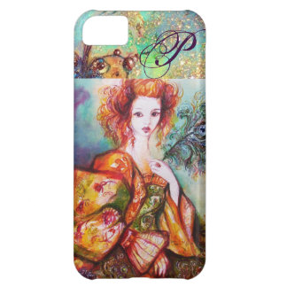 ROMANTIC WOMAN WITH SPARKLING PEACOCK FEATHER iPhone 5C COVERS