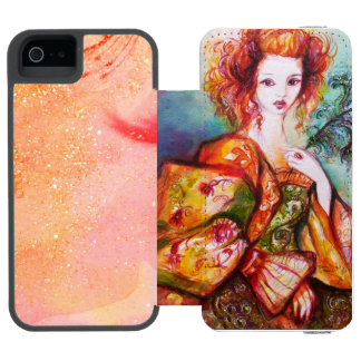 ROMANTIC WOMAN WITH SPARKLING PEACOCK FEATHER iPhone SE/5/5s WALLET CASE