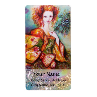 ROMANTIC WOMAN WITH SPARKLING PEACOCK FEATHER LABEL