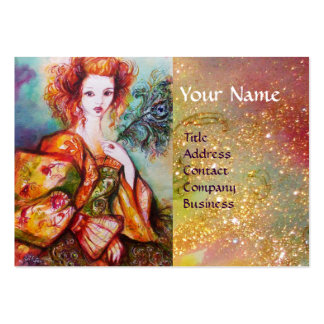 ROMANTIC WOMAN WITH SPARKLING PEACOCK FEATHER LARGE BUSINESS CARD