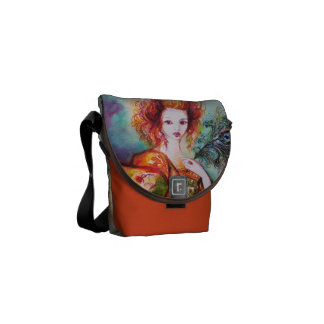 ROMANTIC WOMAN WITH SPARKLING PEACOCK FEATHER MESSENGER BAG