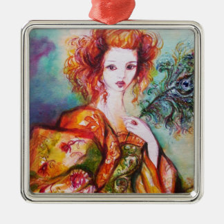 ROMANTIC WOMAN WITH SPARKLING PEACOCK FEATHER METAL ORNAMENT