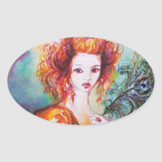 ROMANTIC WOMAN WITH SPARKLING PEACOCK FEATHER OVAL STICKER