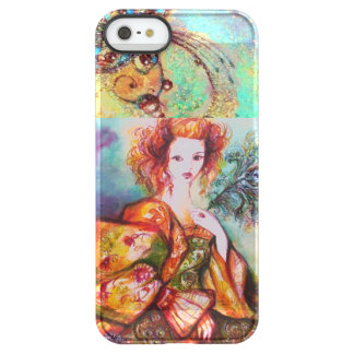 ROMANTIC WOMAN WITH SPARKLING PEACOCK FEATHER PERMAFROST iPhone SE/5/5s CASE