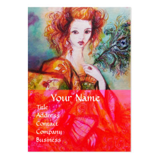 ROMANTIC WOMAN WITH SPARKLING PEACOCK FEATHER Red Business Cards