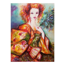 ROMANTIC WOMAN WITH SPARKLING PEACOCK FEATHER,Red Card