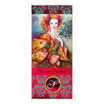 ROMANTIC WOMAN WITH SPARKLING PEACOCK FEATHER ,Red Announcement