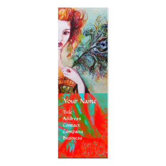ROMANTIC WOMAN WITH SPARKLING PEACOCK FEATHER Red Mini Business Card