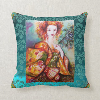 ROMANTIC WOMAN WITH SPARKLING PEACOCK FEATHER Teal Throw Pillow