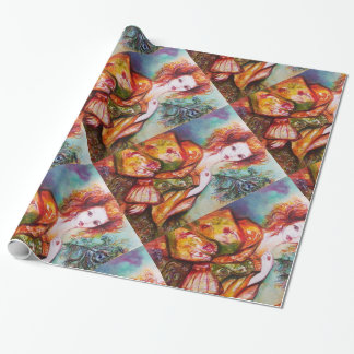 ROMANTIC WOMAN WITH SPARKLING PEACOCK FEATHER WRAPPING PAPER